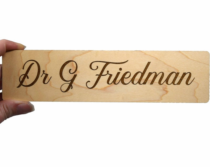 "Wood  Office Door Sign Nameplate,  8"" x 2"" Personalized Magnetic or Adhesive Wood Sign For Door, Wall, etc."