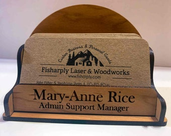"Real Wood Desktop Business Card Holder, 3.5x2.5 inch, ""Mary-Anne"" Style"