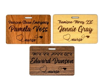 """Personalized Wooden Nurse Name Badges (3.25""""x2."""" )"""
