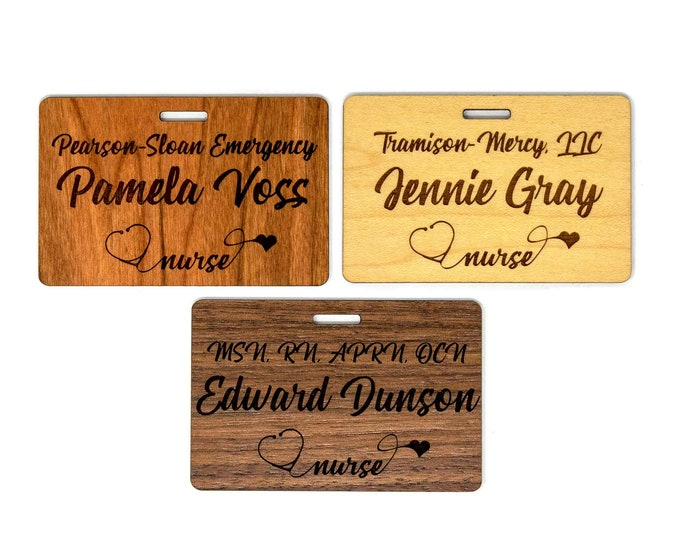 "Personalized Wooden Nurse Name Badges (3.25""x2."" )"