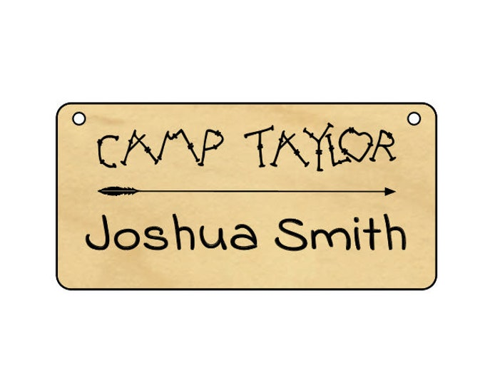 """Leather-strung Wood Name Tags, 4"""" x 2"""", Personalized Camp Name Tags, Wooden Name Badges - Custom Engraved Name Tags"""