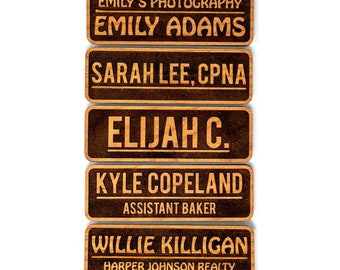 "Wood Name Tags, Magnetic Name Tags (2.5"" x 1""), Personalized Name Tags, Engraved Name Tags/Wooden Name Badges - Custom Name Tags"