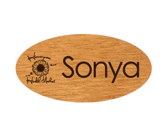 """Oval Name Tags w/Logo, Engraved Real Wood Magnetic Name Tags (3"""" x 1.5"""" Oval), Personalized Work Name Tags, Custom Logo Name Tags"""