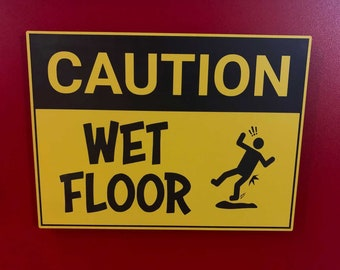 Custom Caution Sign - Thick, Durable Engraved Plastic | Wet Floor Sign | Temporary or Permanent Installation