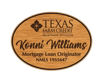 """Wood Name Tags w/Logo, Magnetic Name Tags (2.75"""" x 2"""" Oval), Personalized Work Name Tags, Custom Logo Name Tags"""