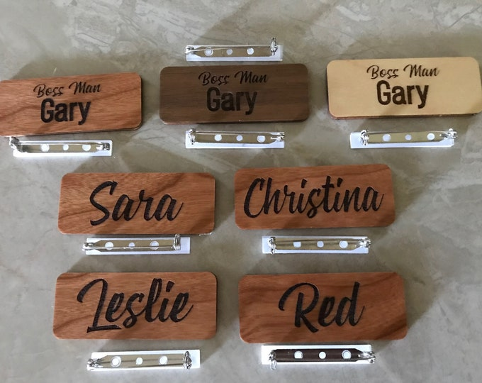 """2.5"""" x 1"""" Name Tags with Real Wood Face"""
