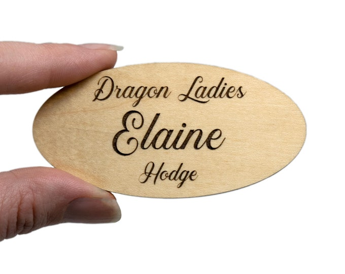 """3"""" x 1.5"""" Oval Name Tags with Real Wood Face"""