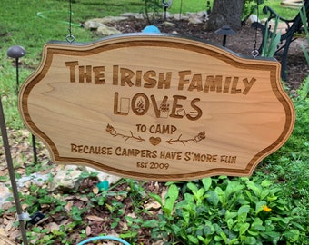 Wood Camping Sign with Family Name Sign w/Optional Established Date