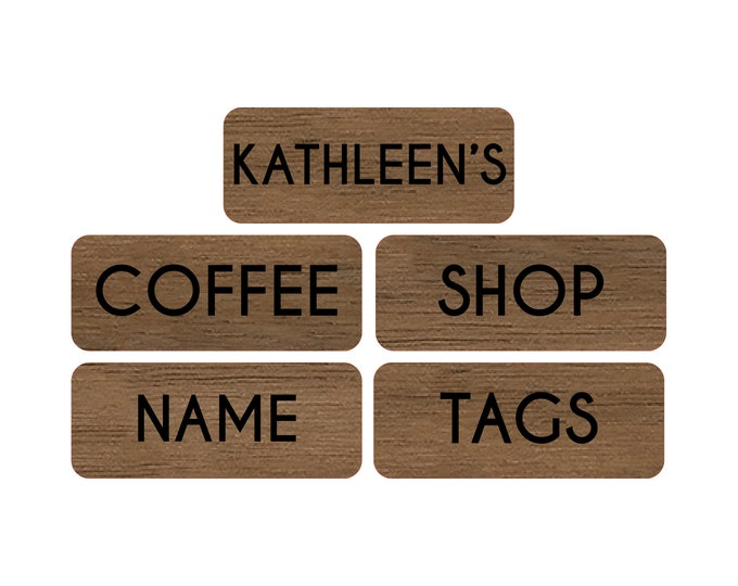 """2.5"""" x 1"""" Simple Coffee Shop Name Tags with Real Wood Name Tag Face"""