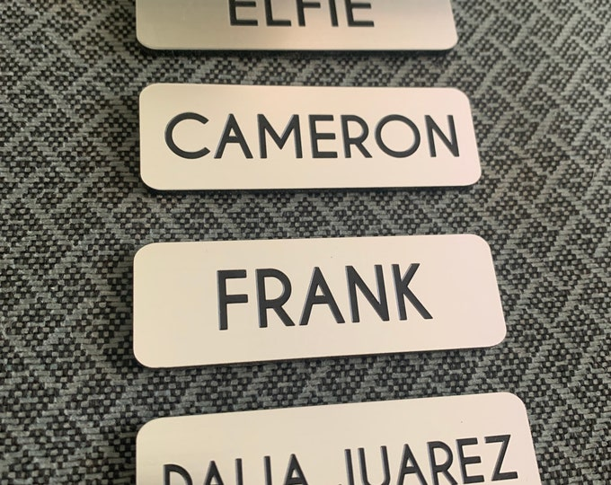 """3"""" x 1"""" Name Tags with brushed Aluminum Face"""