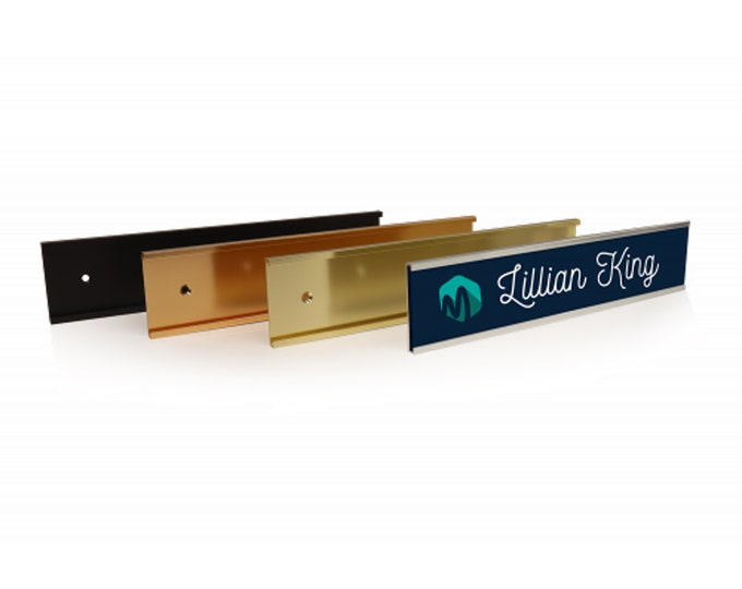 """Metal Wall Holders for 1/8"""" Sign Material to Mount Name Plates and Office Wall Signs, Available in 8""""x2"""", 10""""x2"""", 12""""x2"""""""