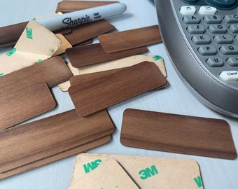 """Real Wood Blank Adhesive Labels/Stickers, Blank Wooden Tags, 2.5"""" by 1"""" - 1/32"""" Thick Real Walnut, Cherry, Maple, or Mahogany Wood"""
