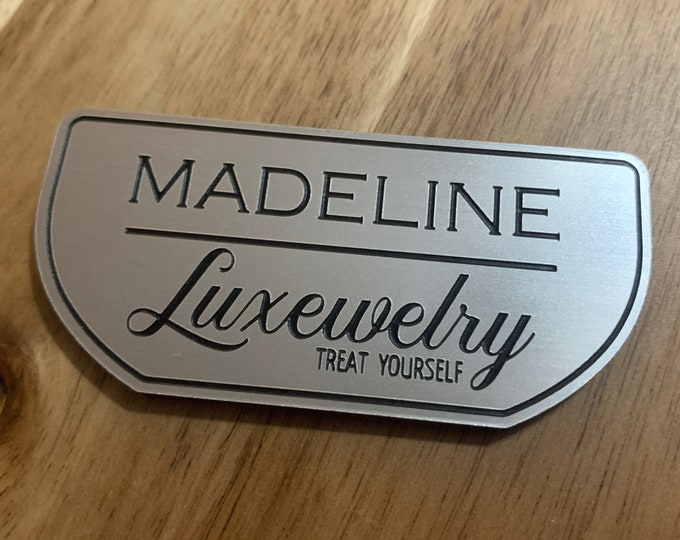 """Silver Aluminum Brush Name Tags With Title or Company Name, 3""""x2"""" Silver Name Tag With Magnetic Adhesive"""