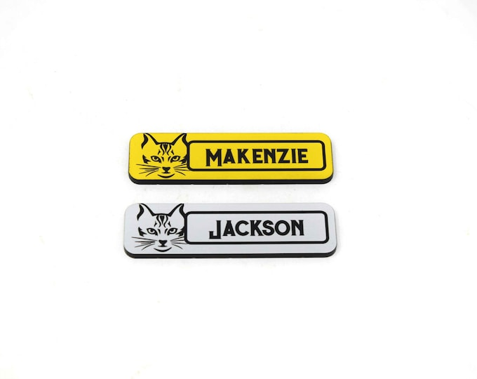 """Aluminum Silver Brushed  Pet Store Name Tags, 3""""x1"""" Black and Yellow or Silver and Black Name Tags"""