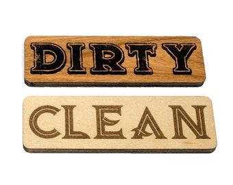 Reversible Wooden Dishwasher Magnet Dishes Sign to Indicate Whether the Dishes are Clean or Dirty