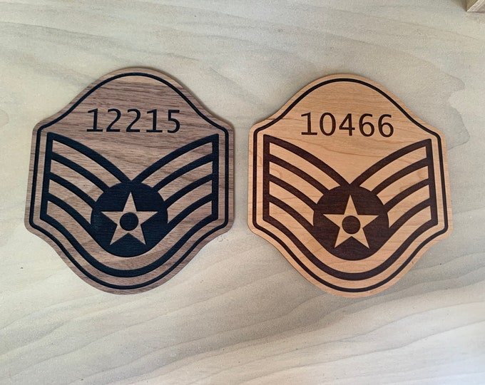 Wood Staff Sergeant Air Force Promotion Gift, USAF SSgt E-5 Promotion Stripes Engraved with Line Number