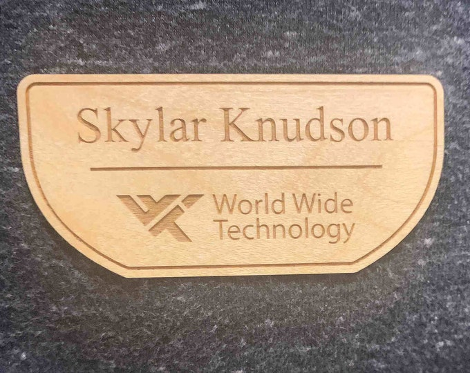"""Wooden Name Tag With Title or Company Name, 3""""x4"""" Real Wood Magnetic Name Tag"""