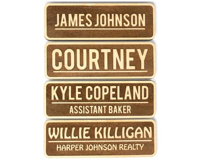 "Wood Name Tags, Magnetic Name Tags (2.5"" x 1""), Personalized Name Tags, Engraved Name Tags/Wooden Name Badges - Custom Name Tags"