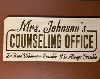 """Personalized School Counselor Sign,  9.5"""" x 4"""" Personalized Magnetic Counselor Sign or Adhesive Wood Sign For Office Door, Wall, etc."""