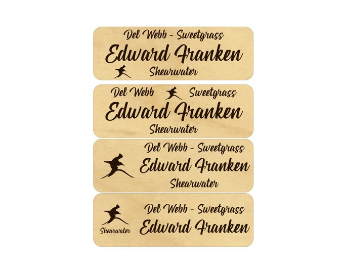 """3"""" x 1"""" Neighborhood/HOA Owners' Name Tags with Real Wood Name Tag Face"""