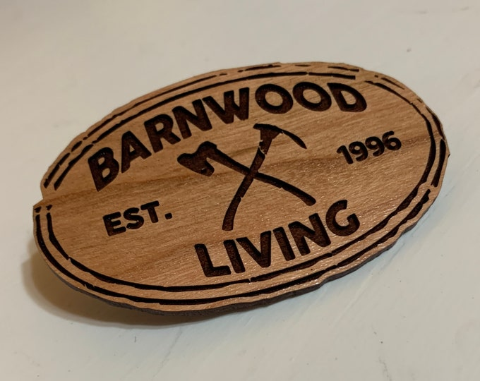 """Wooden Oval Promotional Tags w/Your Logo, 3"""" x 2"""""""