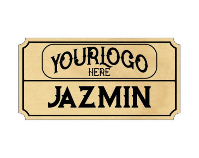 """Real Wood Name Tags with Logo, 1.25"""" x 2.5"""" Personalized Name Tags"""
