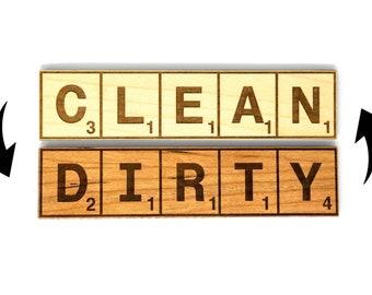 Clean Dirty Magnet, Reversible Wooden Dishwasher Magnet, Scrabble Magnet Dishes Sign