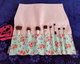 Blue floral Make-up Brush roll *brushes NOT included*