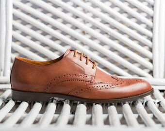 Hancrafted Tan leather full brogues