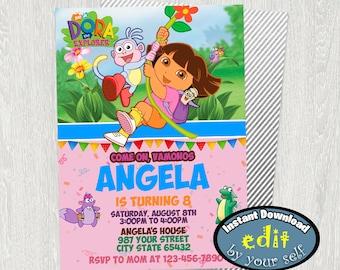 Dora the Explorer Birthday Party, Dora the Explorer Invitation, Dora the Explorer Birthday Invitation, Dora the Explorer Party Invitation
