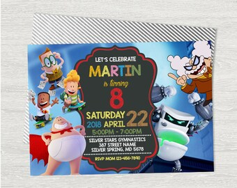 Captain Underpants Invitation, Captain Underpants Birthday, Captain Underpants Birthday Card, Captain Underpants Birthday Party