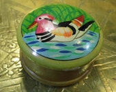 Small Wooden box with Mandarin Duck handpainted picture - Vintage French trinket pill or Jewellery box Twitchers or Ornathologists gift