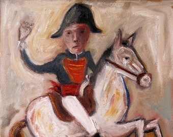 Soldier with horse portrait, painted in oil on Arches paper by Lupo Sol. Original work, no print