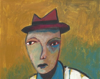 Man with hat portrait, original art by Lupo Sol on paper, mixmedia work, no print