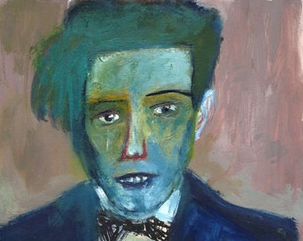 Man with blue face, a expressionist portrait by Lupo Sol, mixed media painting on paper