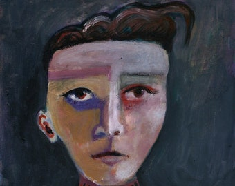 Modern girl portrait, an acrylic and gouache on paper by Lupo Sol. Only original art, not prints
