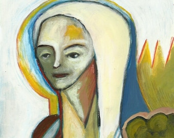 Strange kind of woman, mixed media painting on paper, Lupo Sol original art
