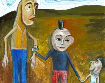 Three peculiar characters portrait, acrylic on paper by Lupo Sol, original art no copy