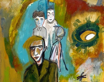 Lost group painted on Bristol paper by Lupo Sol, original art