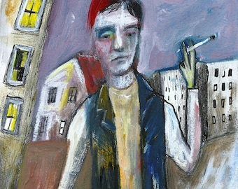 Junkie boy portrait by Lupo Sol, mixed media art on paper