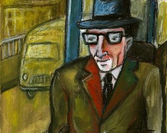 Traveler man on bus, original oil pastel painting by Lupo Sol, no print