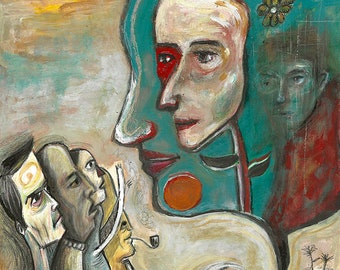 Strange landscape with people, mixed media painting on paper by Lupo sol