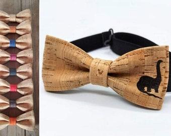 Dinausore bow tie (brachiosaurus) made of cork (4-12 years)