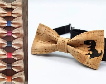 Dinausore bow tie ( T-Rex ) in cork (4-12 years old)
