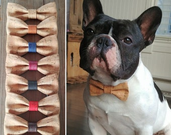 Natural cork bow tie for dog and cat