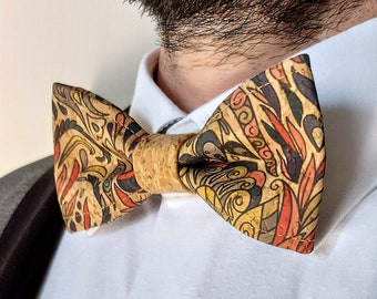 Butterfly tie and pocket handkerchief in colored patterned cork for adults