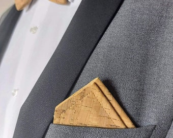 Decorative handkerchief for jacket / pocket square 100% cork