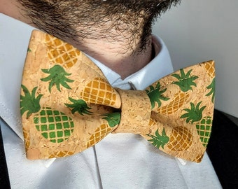 Natural cork pineapple bow tie for adults