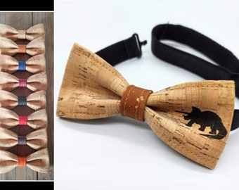 Dinausore bow tie (triceratops) in cork (4-12 years old)