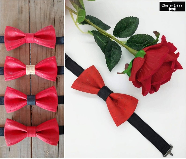 Adult red cork bow tie image 0